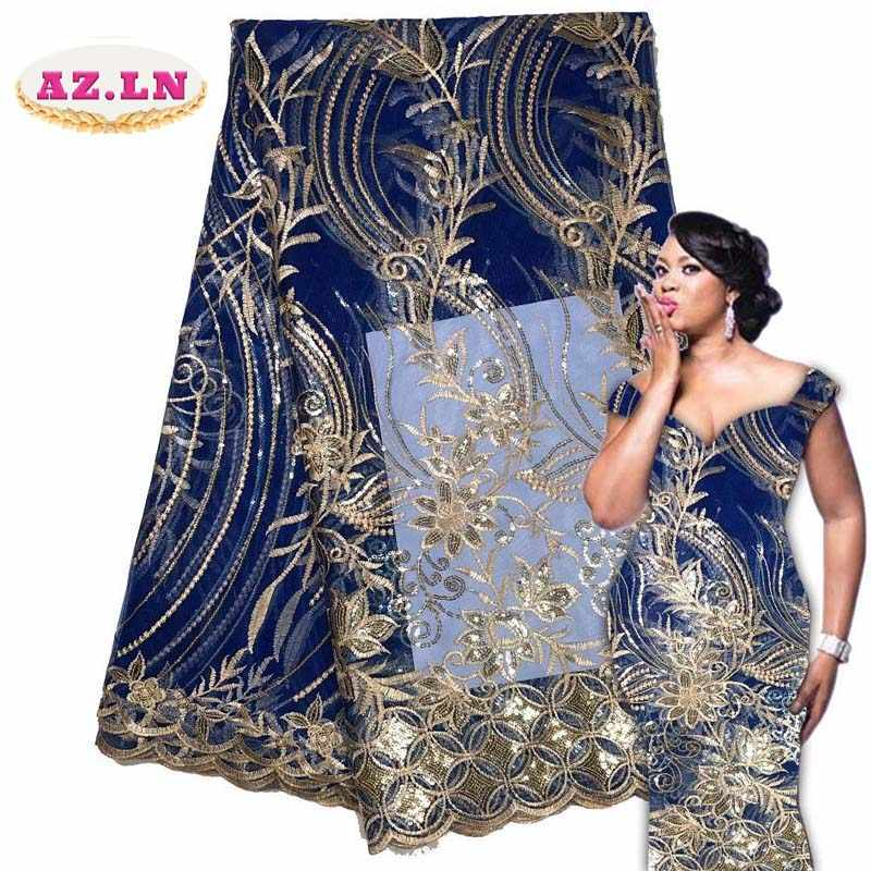2019 Latest French Nigerian Laces Fabrics High Quality Sequins Tulle African Laces Fabric Wedding French Tulle Lace A18B12-18