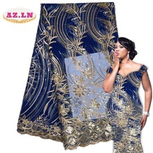 2019 Последние Французский нигерийские кружевные ткани Высококачественные блестки тюль кружевная ткань в африканском стиле Свадебные французский Тюль Кружева A18B12-18