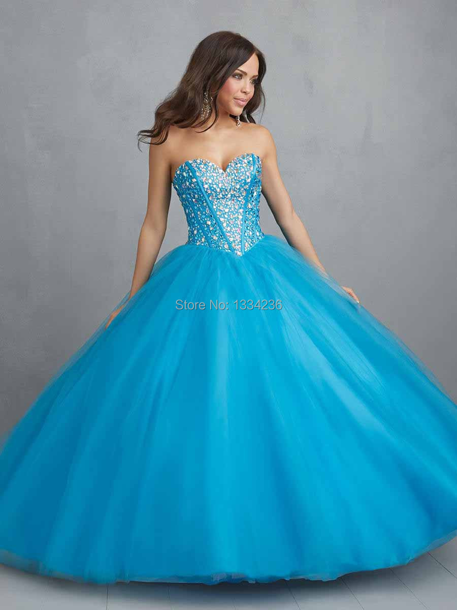 54d3d3a42a9a5 Sweetheart Style Ball Gowns Sweep Train Coral Blue Organza Any Color Or Size  Quinceanera Dresses For Sweet 16 Year Girls Party-in Quinceanera Dresses  from ...