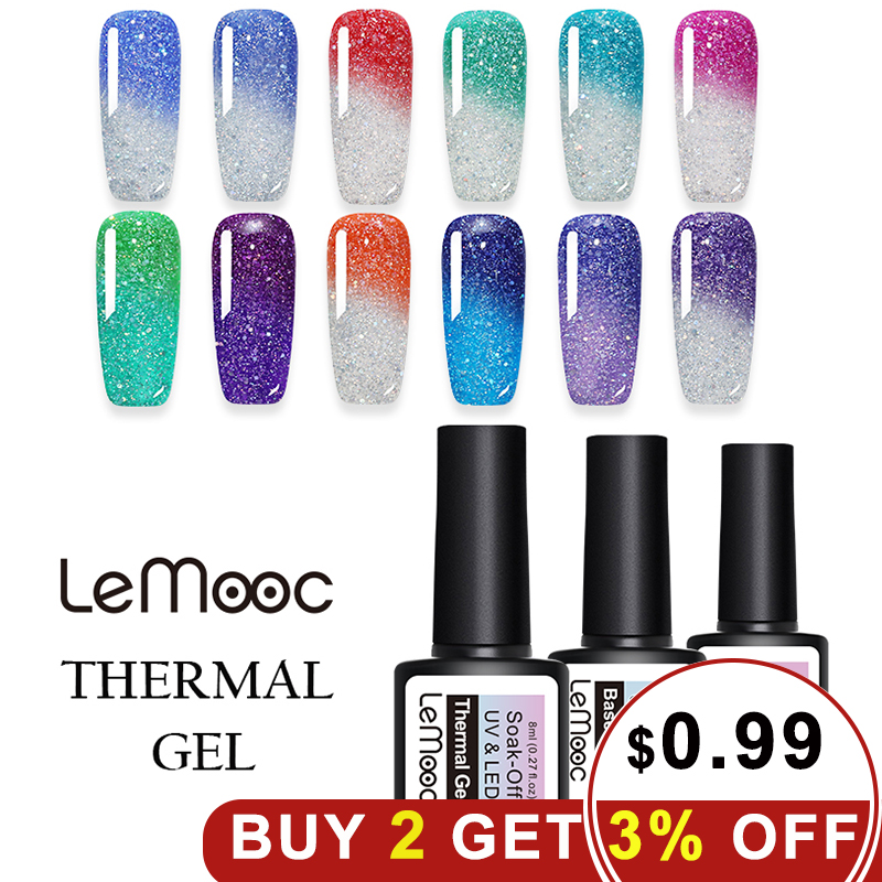 Lemooc 8ml Thermal Rainbow Nail Gel Polish Shimmer Holographic Gel Varnish Temperature Color