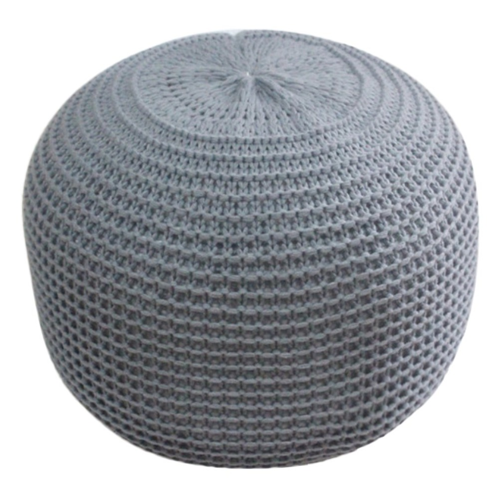 Large Comfortable Handmade Chunky Knit Round Foot Stool Pouffe Ottomans Cushion Home Decorative Furniture cable knit overlay cushion cover