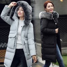 Long Design 2016 Winter Wadded Jacket Outerwear Female Over-the-knee Warm  Fur Collar Parka Thickening Overcoat Slim Coat Women