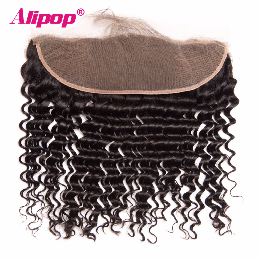 ALIPOP Peruvian Deep Wave Lace Frontal Closure With Baby Hair 10-24 Pre Plucked Natural Hairline Remy Natural Black 1B Color