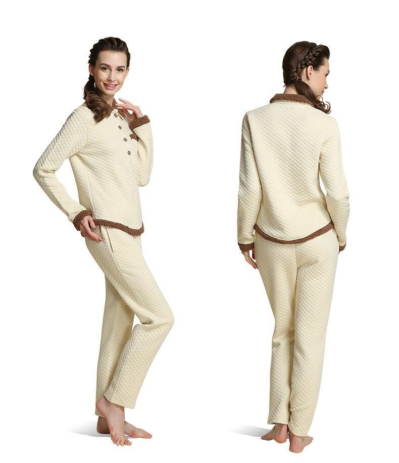 Winter   Homewear Women Thicken Pajama Sets Women Cotton Modal Sleepwear Suit Turn-Down Collar Shirts + Pants