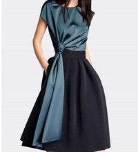 Fashion Summer Womens A Line Dress Mid Vintage Solid Party O-Neck Elegant