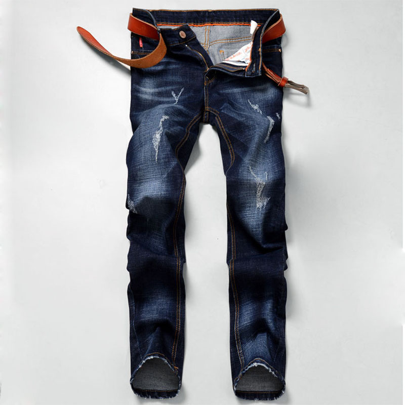 ФОТО Fall Winter 2016 Men Fashion Straight Ripped Jeans For Men Classic Blue Denim Trousers Men High Quality Slim Cotton Jeans Pants
