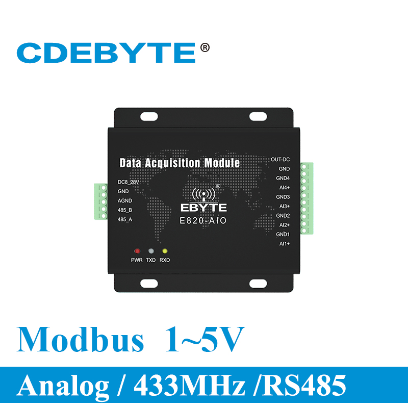 Analog Acquisition Transceiver Module 4 Channel 1 5V Modbus RTU E820 AIO(UI 485 4 5) Long Range RF Transmitter and Receiver-in Communications Parts from Cellphones & Telecommunications