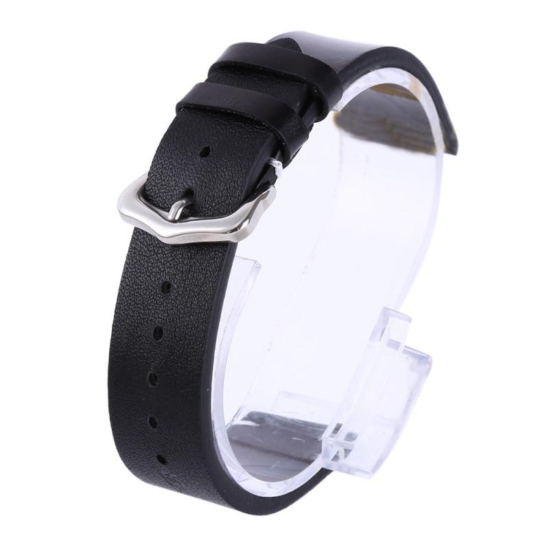 Man Women Handmade Leather Wrist Watch Band Strap Belt Silver Polished Buckle