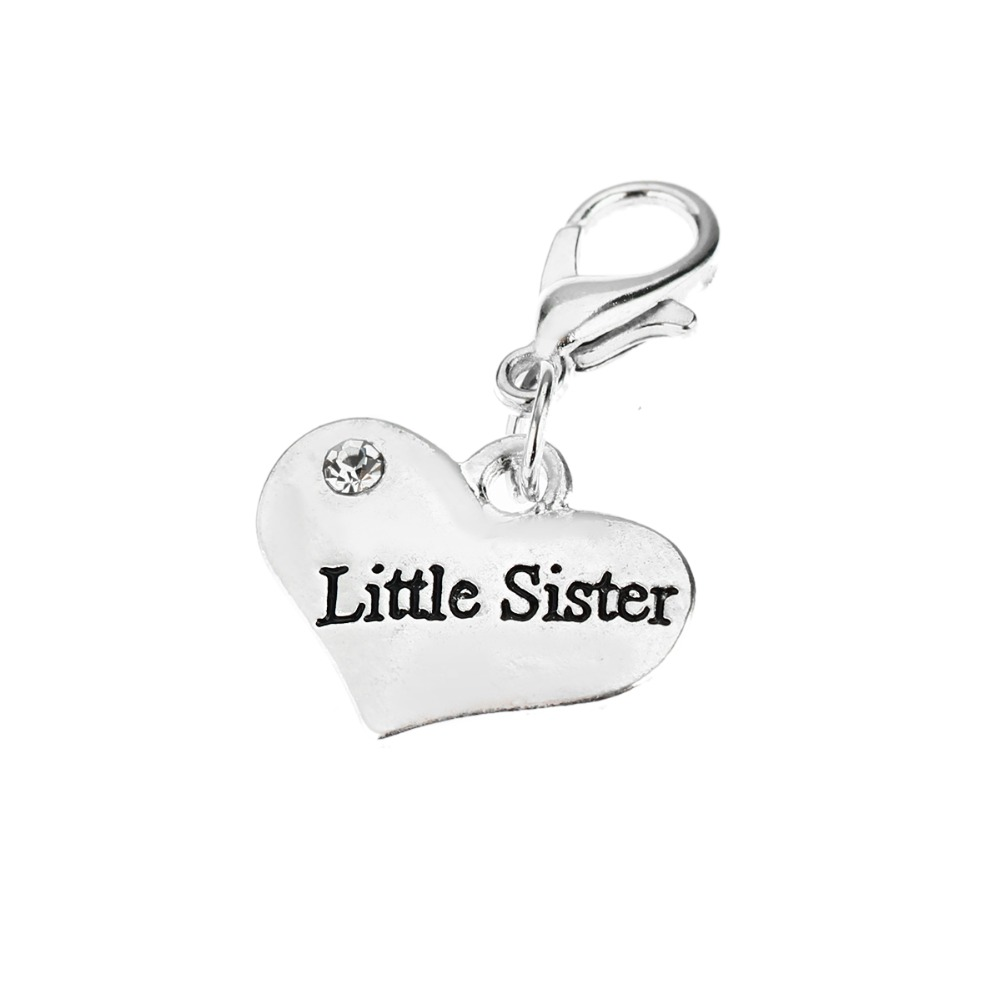 Little Sister Sis Crystal Heart Rhinestone Vintage Charm Bracelet Family Friends Lovely Girl Gifts Fashion Summer Jewelry Party