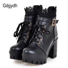 Gdgydh Wholesale Lace Ankle Boots Thick High Heels Women Boots Sexy Lacing Round Toe Platform Ladies Shoes Large Sizes 34-43