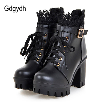 Gdgydh Wholesale Lace Ankle Boots Thick High Heels Women Boots Sexy Lacing Round Toe Platform Ladies Shoes Large Sizes 34-43 byqdy sexy women long boots knee high boots ultra high heels round toe platform lacing boots thick heel chaussures femme
