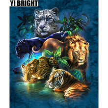 YI BEIGHT Diamond Painting Cross Stitch Big Cats Panther,Tiger,LionCrystal Needlework Embroidery Full Decor GT