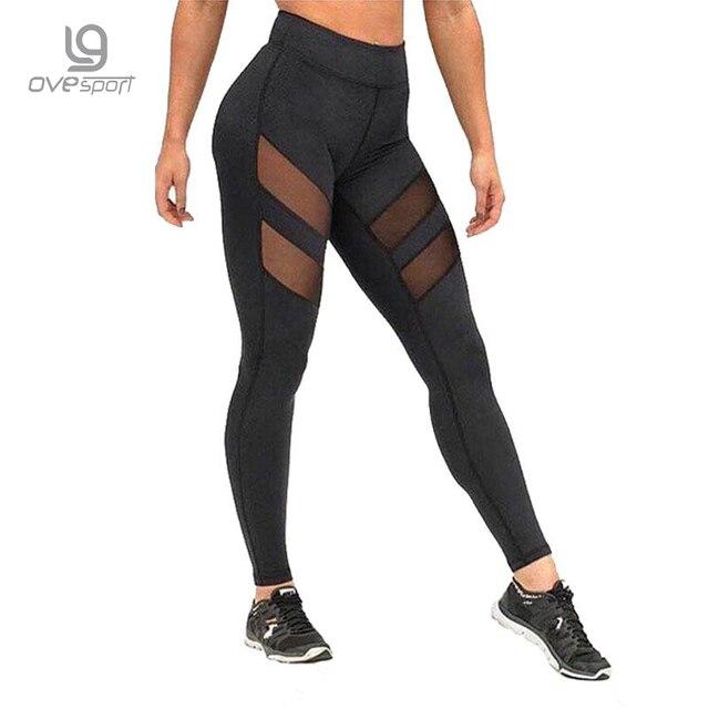 Panie Wysokiej Talii Mesh Kobiety Legginsy Fitness Oddychająca Push Up Damskie Getry Szybkie Suche Wysokiej Qualiky Plus Rozmiar Casual legginsy