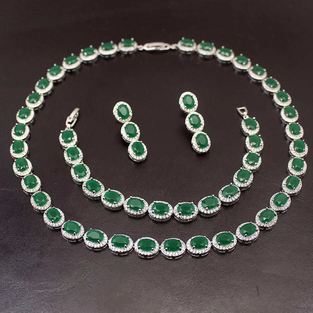 Hermosa naturel greenemeraude rubysaphir 925 Bracelet en argent Sterling boucle d'oreille collier ensembles de bijoux pour les femmes