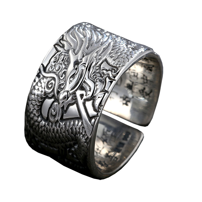 Bahamut Dragon Ring Sterling Silver Vintage 925 Silver Men Jewelry Open Ring цена