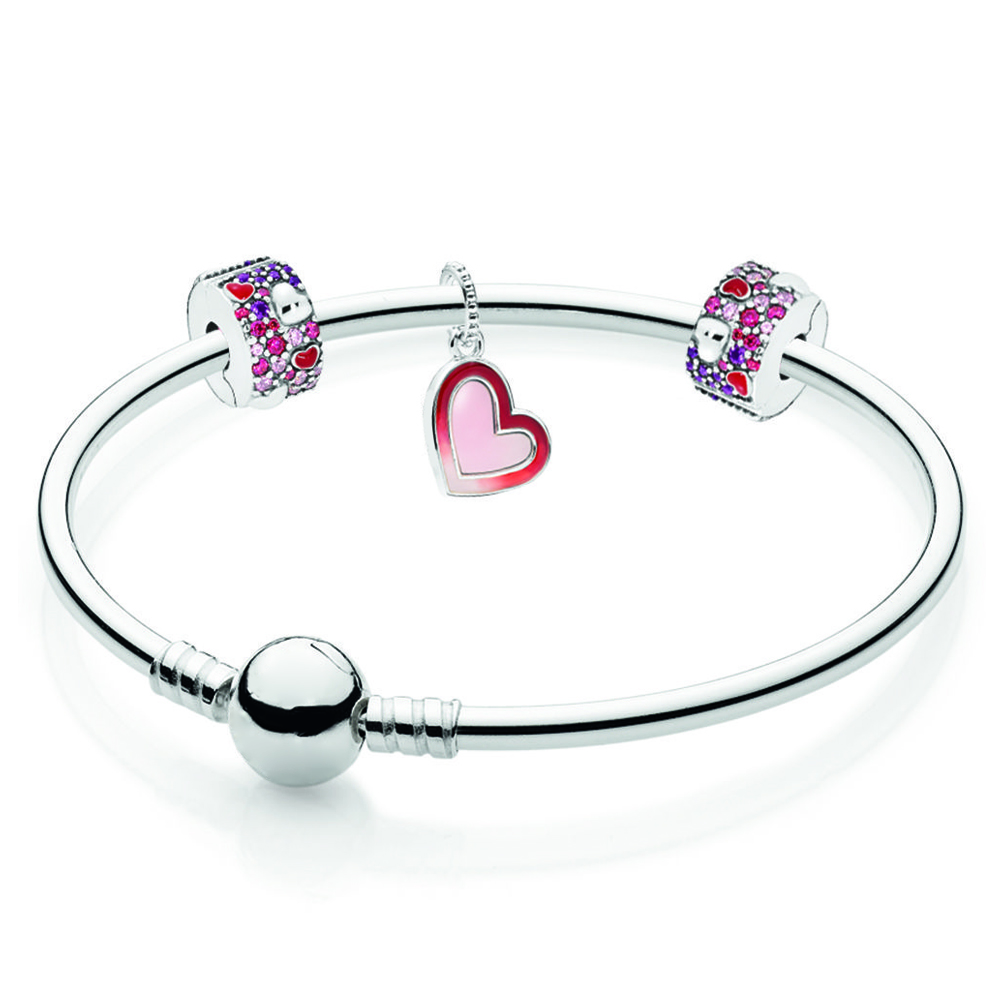 NEW 100% 925 Sterling Silver B801094 Shape of My Heart Bangle Gift Set2019 Valentine's Day Gift High Quality Jewelry Making