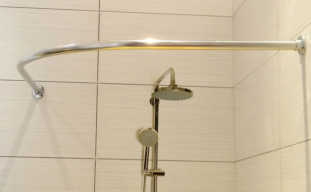 Douche Gordijn Stang : Badkamer gebogen douchegordijnstang l vormige roestvrij staal boog