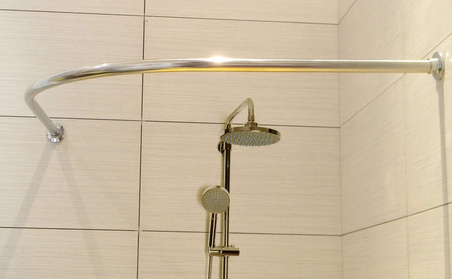 Bathroom Curved Shower Curtain Rod L Shaped Stainless Steel Arc Thickening Pole Right Angle Drilli