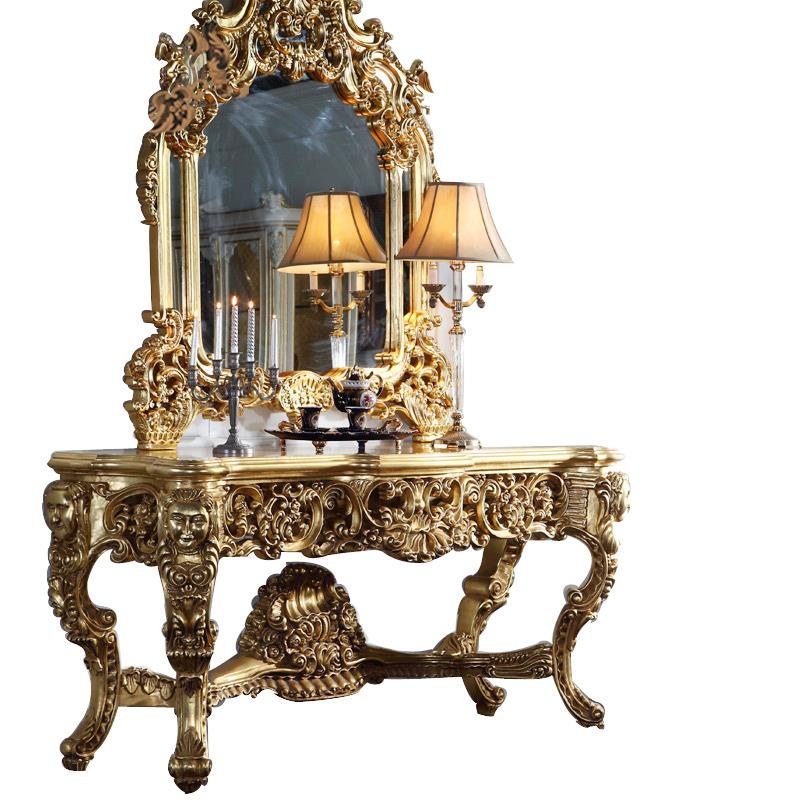Italy Classic Luxury All Gilding Wood Carving Decorative Mirror Wood
