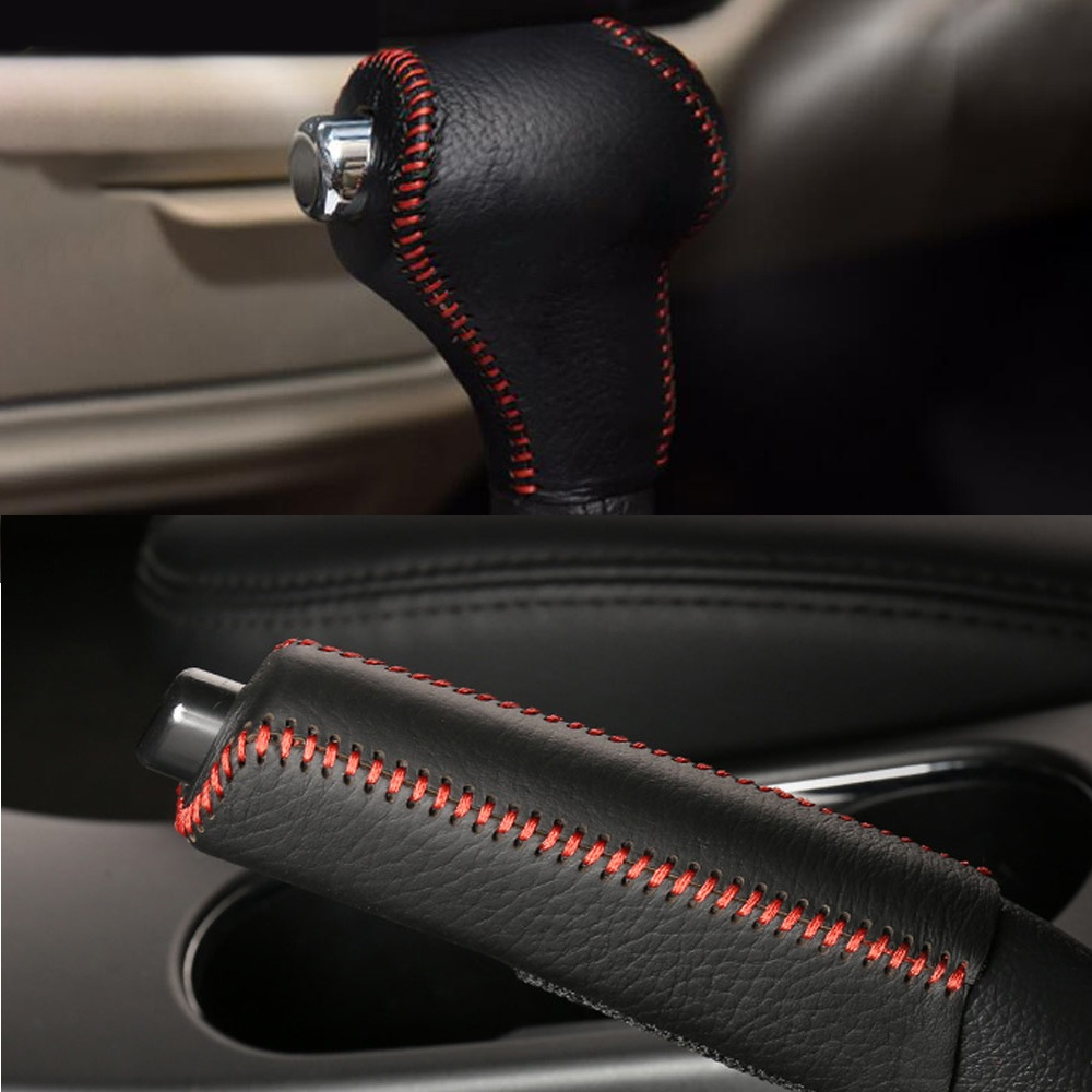 Leather <font><b>Car</b></font> Gear Head Shift Collars <font><b>Cover</b></font> Handbrake Grips <font><b>For</b></font> <font><b>Kia</b></font> Sportage R Cerato K3 K5 <font><b>Sorento</b></font> 2011 2012 <font><b>2013</b></font> 2014 2015 image