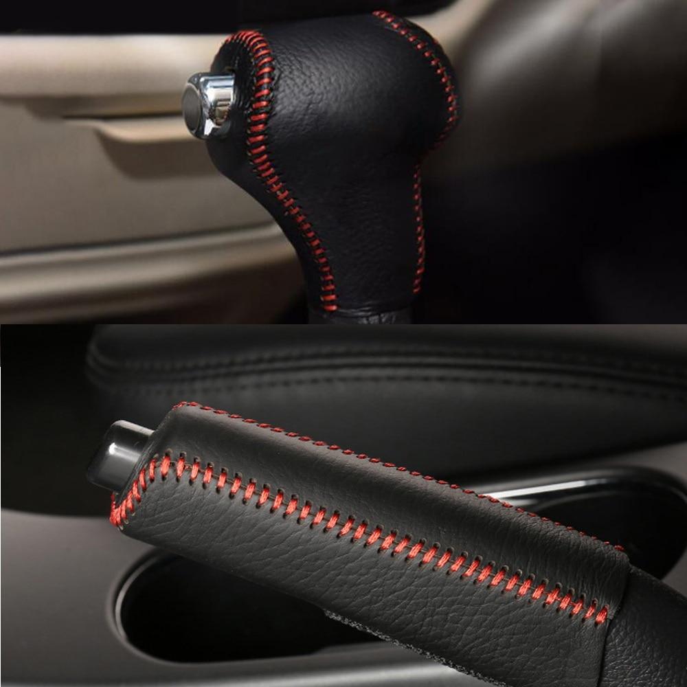 Leder Auto Getriebe Kopf Shift Halsbänder Abdeckung Handbremse Griffe Für Kia Sportage R Cerato K3 K5 Sorento 2011 2012 2013 2014 2015