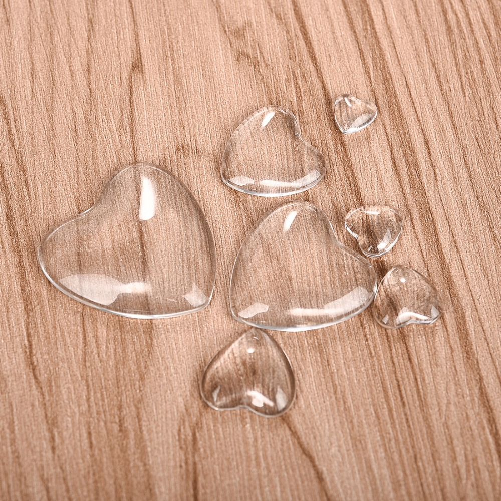Heart Transparent Cabochon Clear Glass For DIY Jewelry Making Handmade Pendants Accessories 8mm 10mm 12mm 16mm 18mm 25mm 30mm