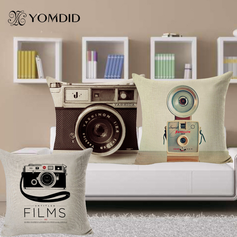 cushion covers camera patterms vintage style sofa throw. Black Bedroom Furniture Sets. Home Design Ideas
