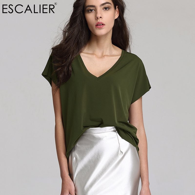 Escalier 2017 Zomer Dames Basic Normaal Losvallende T-shirts V-nek Effen Korte Polyester Popeline Casual S-3XL 3 Kleuren Zachte shirts