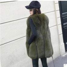 Новое поступление, зимний теплый модный женский жилет из искусственного меха, верхняя одежда для женщин, s шуба из искусственного лисьего меха, женский жилет размера плюс из искусственного меха K946