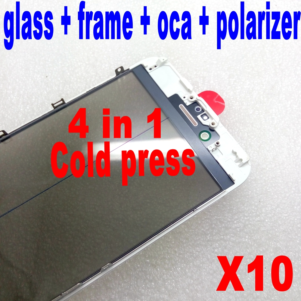cold press For iPhone 6 6s 7 plus front Glass with Frame with oca polarizer together