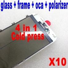 Kaltpressung Für iPhone 6 6s 7 plus front Glas mit Rahmen mit oca polarisator zusammen 4 in 1 lcd screen outer glas reparatur teil