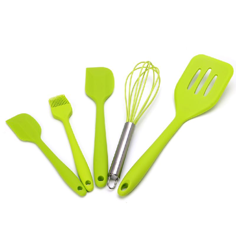 5pcs/set Resitant Silicone Kitchen Cooking Utensil Set Heat Resistant Cooking Tools Non-stick Cooking Bake Tool Accessories