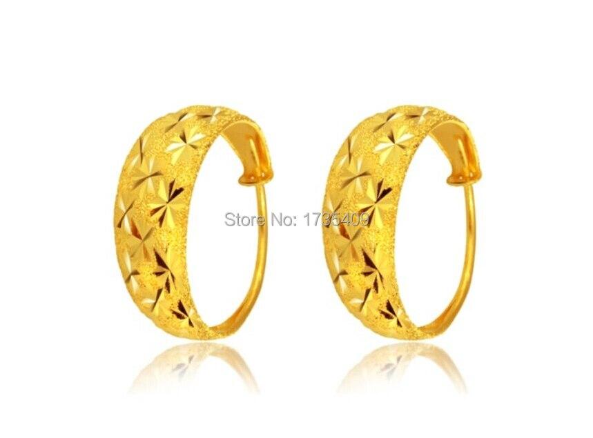 Pure Solid 999 24k Yellow Gold Earrings /Women Many Star Hoop Earrings / 4.5g fish hoop earrings