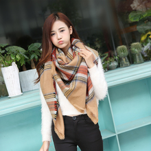 2015 new za Scarf Women Tartan scarves Tartan Plaid Scarf Beige Cozy Checked Blanket Oversized Wrap Shawl