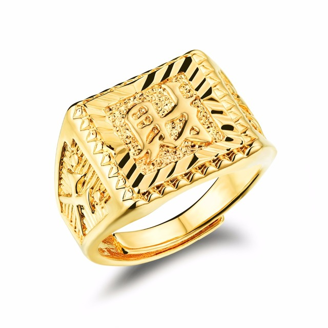 Pure Gold Color  Wealth  Chinese Letter Mens Ring Hip