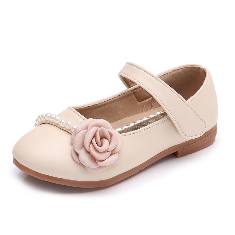 Bekamille Girls Leather Shoe Autumn Fashion Children Girls Princess Pearl Flower Flat Single Shoes Infant Girls Sneakers