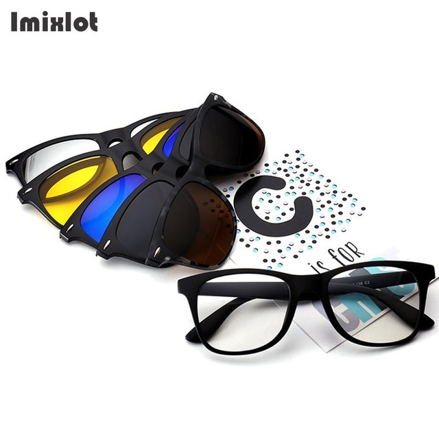 e5e2144ea7d Imixlot Black Rivet Frame Polarized Clip On Sunglasses Men Custom  Prescription Lenses Magnetic Clips Night Glasses Drive Magnet