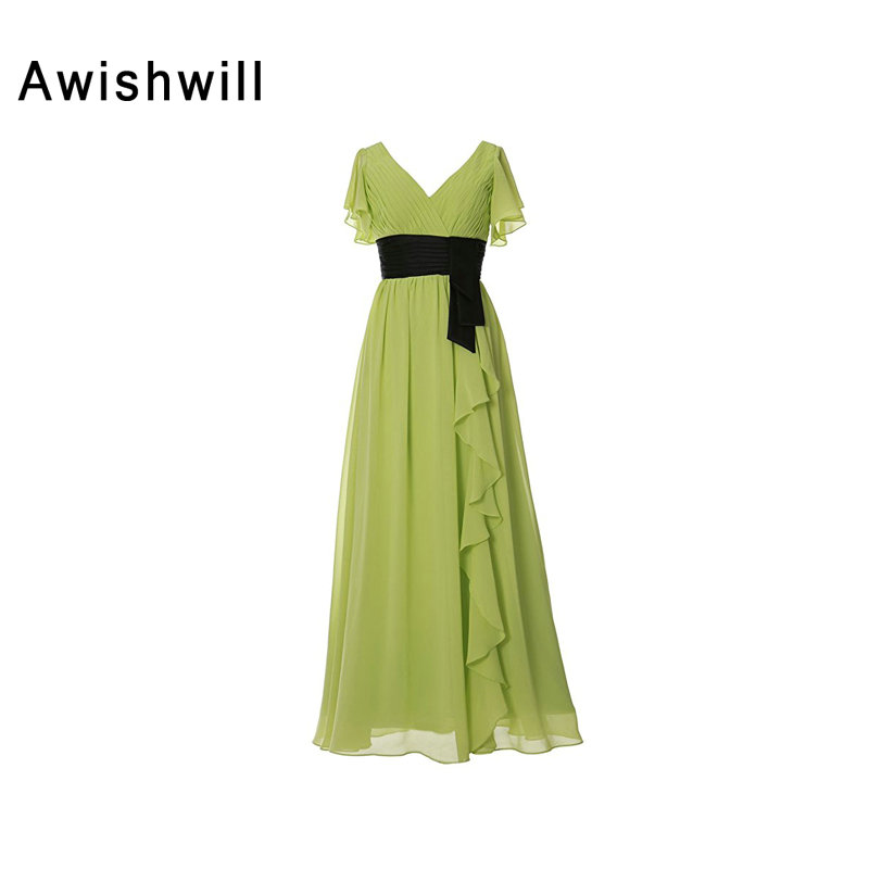 Real Picture V neck Floor Length Ruched Chiffon With Belt Short Sleeve Wedding Party Dress Bridesmaid Dresses Long Olive Green