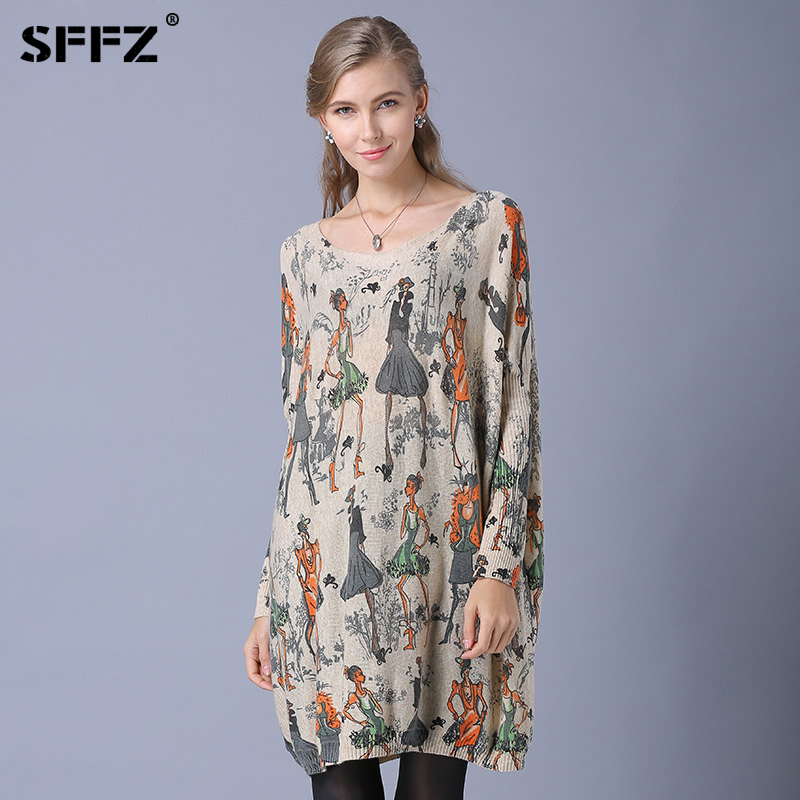 SFFZ 2018 New Design Womens Fashion Sweaters Batwing Sleeve Beautiful Print Slash Neck Pullovers Wool Knitted Lady Sweater