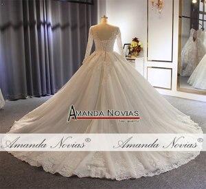 Image 4 - 2019 gelinlik abito da sposa maniche lunghe con il pieno di cristallo abito da sposa reale di lavoro