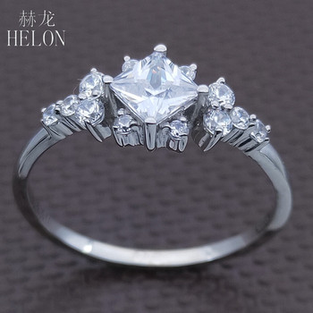 HELON AAA Graded Cubic Zirconia Ring Sterling Silver 925 Engagement Wedding Women Trendy Fine Jewelry Elegant unique Gift Ring