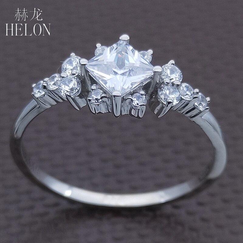 HELON AAA Graded Zirconia Ring Sterling Zilver 925 Engagement Wedding Vrouwen Trendy Fijne Sieraden Elegante unieke Gift Ring-in Ringen van Sieraden & accessoires op  Groep 1