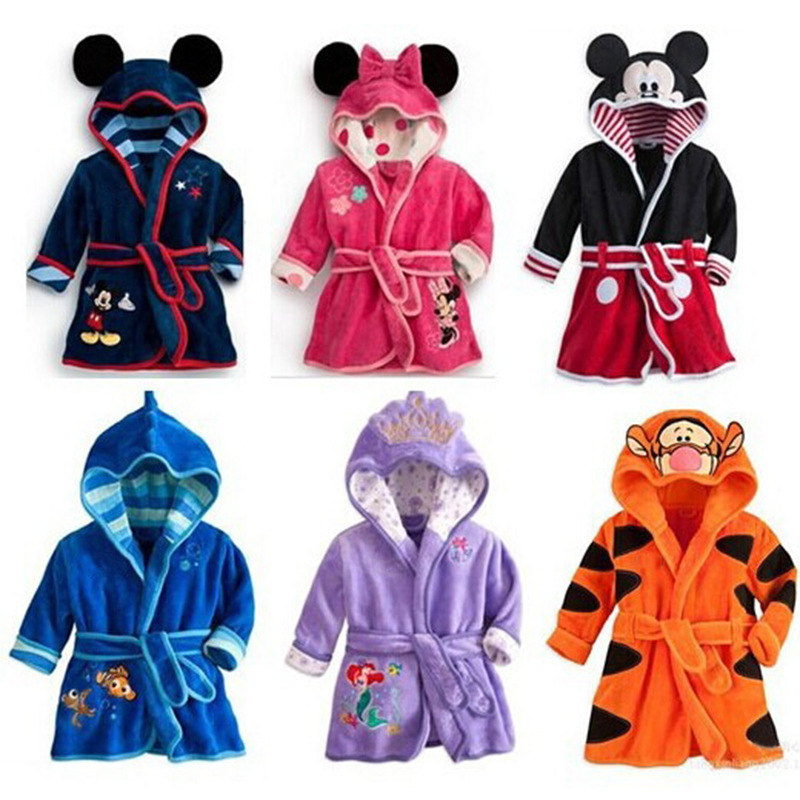 Children Cartoon Print Gown Kids Robes Flannel Boys Girls Lovely Animal Hooded Bath Robes Long Sleeve Baby Bathrobe Child Cloth