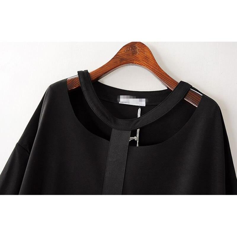 Женская футболка с вырезом XITAO, черная футболка с металлическим кольцом и о-вырезом, KZH149