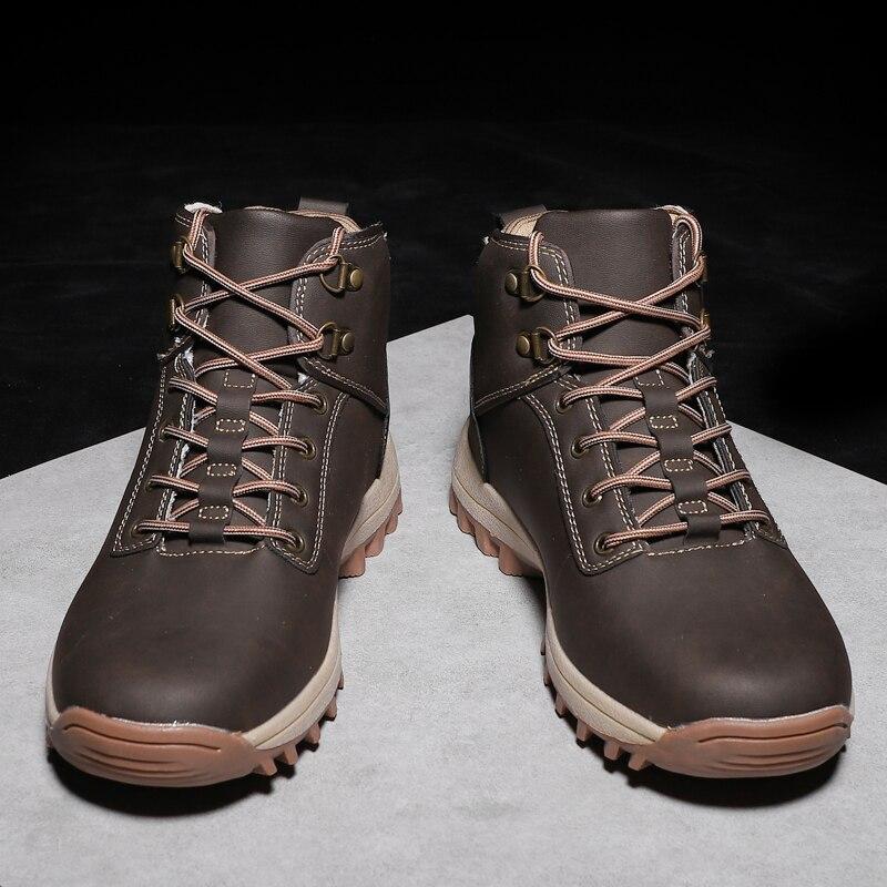 Pscownlg уличная прогулочная обувь для мужчин треккинг Альпинизм Кемпинг кожаные кроссовки зимние спортивные легкие нескользящие носки - 3