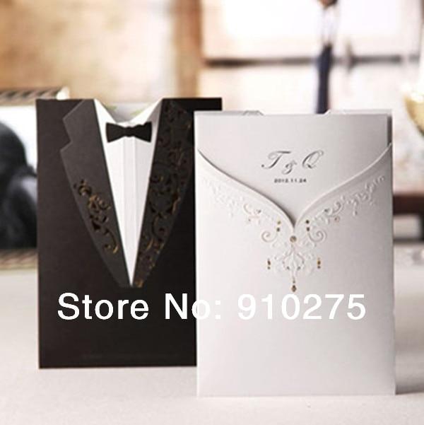 Bride Groom Tuxedo Gown Design Wedding Cards Invitation Party Favors Invites