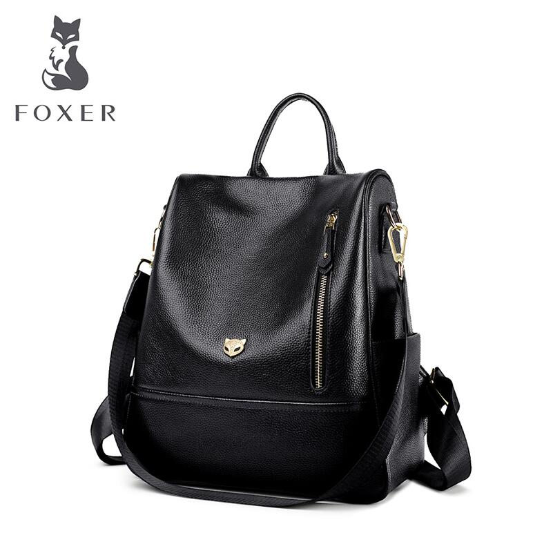 цена FOXER brand casual bag shoulder bag 2018 new stylish leather anti-theft backpack Schoolbag College Wind