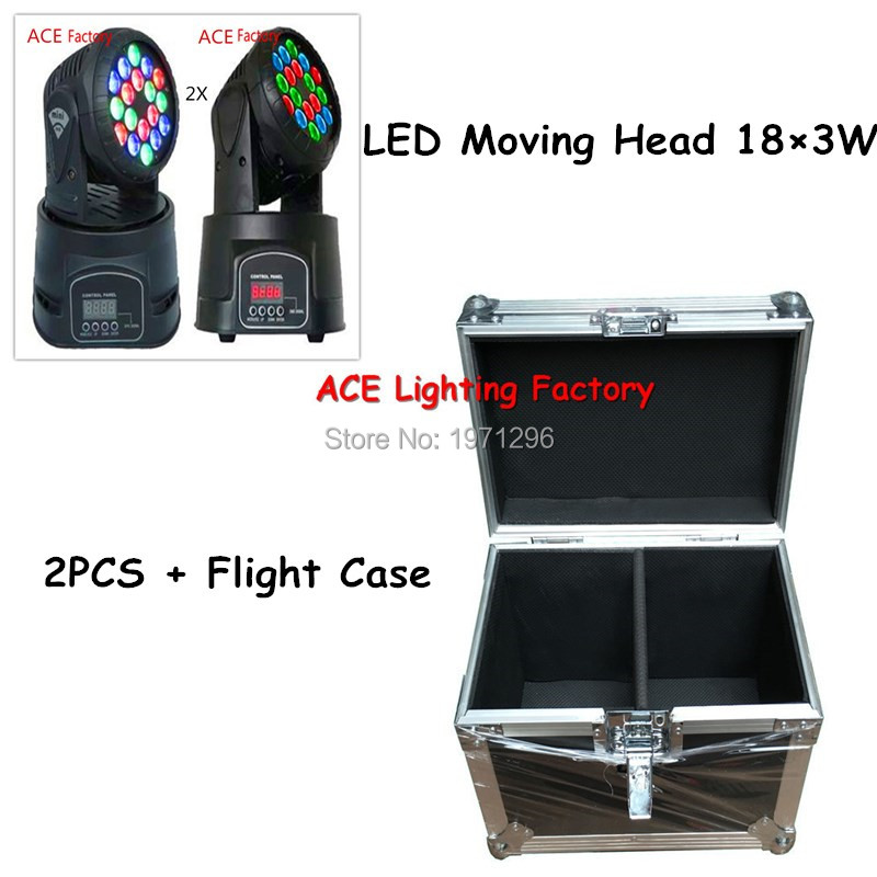 Flight Case with 2 pieces LED Mini Moving Head Light 18x3w RGB Wash Light For Event,Disco Party Nightclub Fast & Free Shippping flight case with 8 pieces 18x3w rgb led