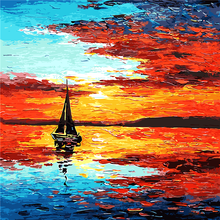 Dusk Sea Picture Painting By Numbers Modern Boat Sailing Wall Art DIY Hand Painted Canvas Coloring Home Decor 2017 Cheap