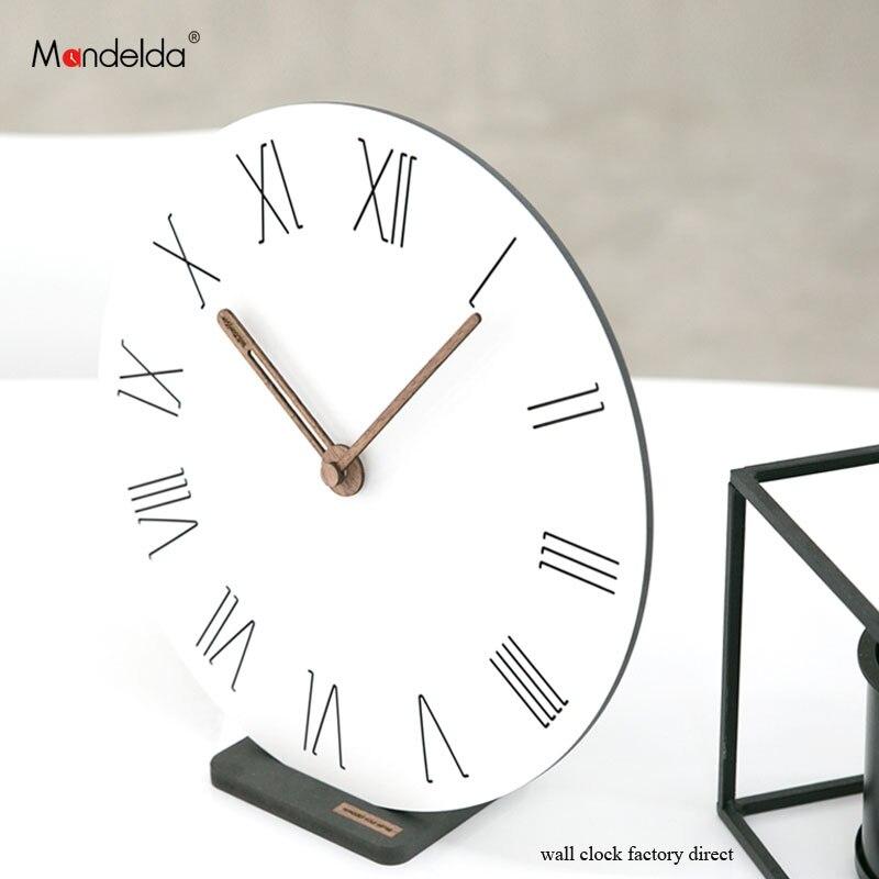 Mandelda Modern Bracket Wall Clock Digital Northern European-style Creative Livingroom Decorative Silent Table Watch